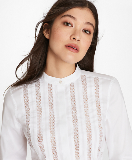 Lace-Trimmed Stretch Cotton Tunic