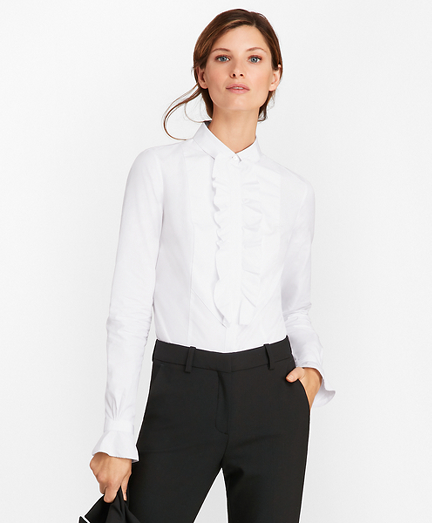 Tailored-Fit Cotton Dobby Tuxedo Shirt