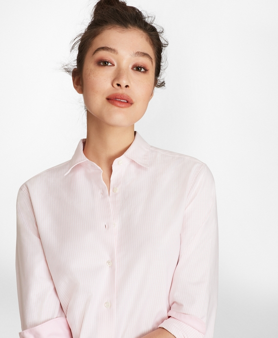 Classic-Fit Supima® Cotton Oxford Stripe Forward-Point Shirt Pink