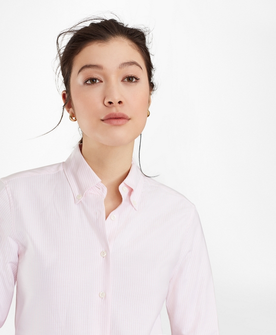 Classic-Fit Supima® Cotton Oxford Stripe Button-Down Shirt Pink