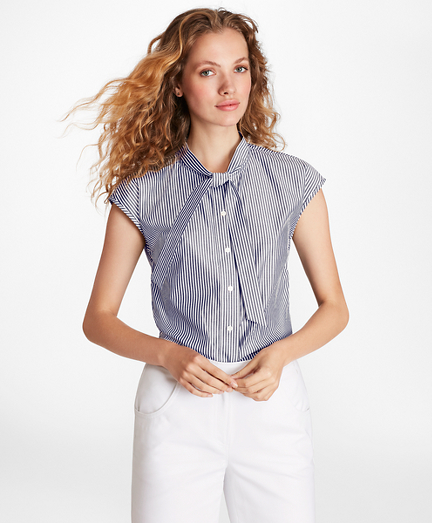 Striped Cotton Poplin Tie-Neck Blouse