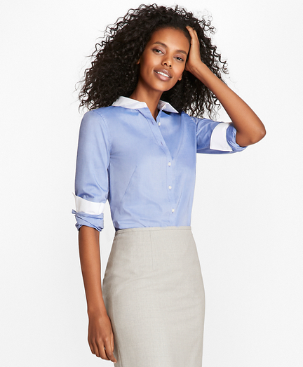 Non-Iron Cotton Poplin Contrast-Collar Fitted Shirt