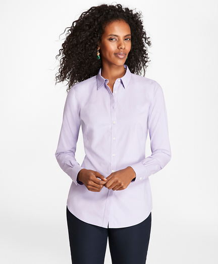 Non-Iron Stretch-Cotton Pinpoint Oxford Fitted Shirt