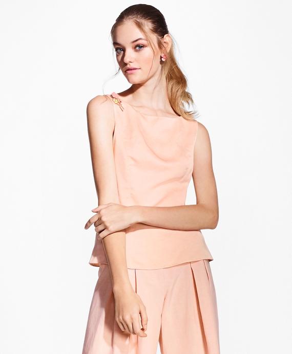 Linen-Blend Dupioni Blouse Pink