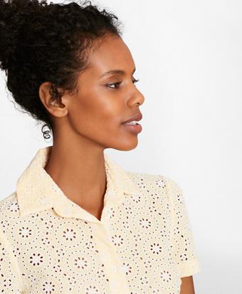 Cotton Eyelet Short-Sleeve Shirt
