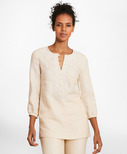 Soutache-Embroidered Linen Tunic