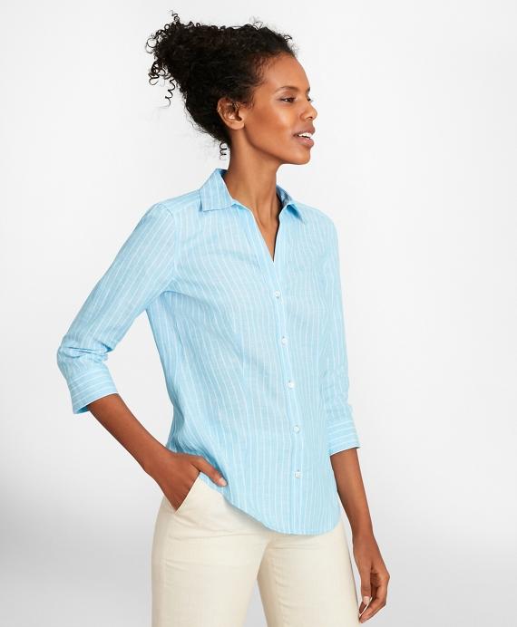 Tailored-Fit Striped Linen Three-Quarter-Sleeve Shirt Aqua