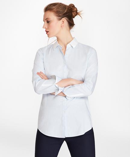 Non-Iron Mini-Plaid Cotton Poplin Fitted Shirt