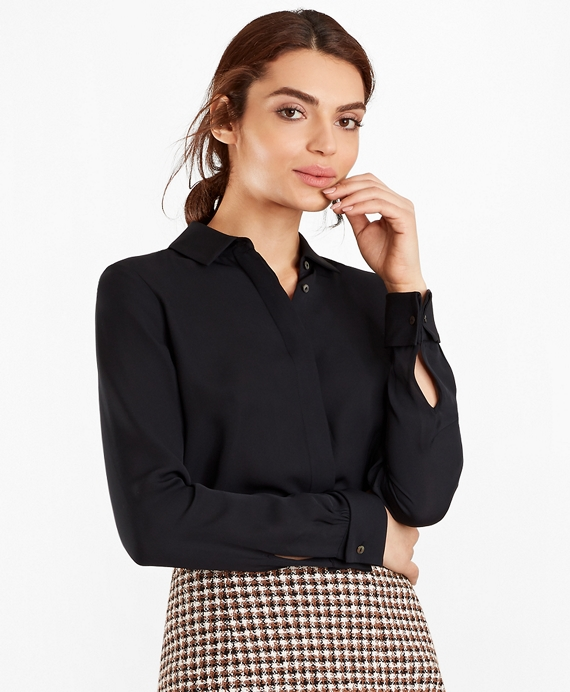 Silk Georgette French Cuff Shirt Black