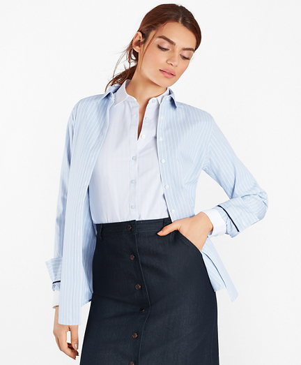 Classic-Fit Striped Supima® Cotton Stretch Poplin Shirt