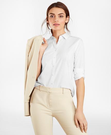 Striped Supima® Cotton Poplin Fitted Shirt