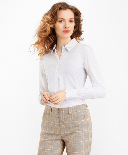 Striped Supima® Cotton Dobby Double-Collar Fitted Shirt