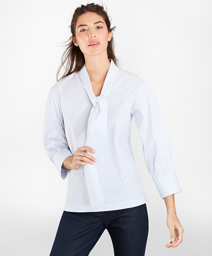 Non-Iron Striped Stretch Supima® Cotton Blouse