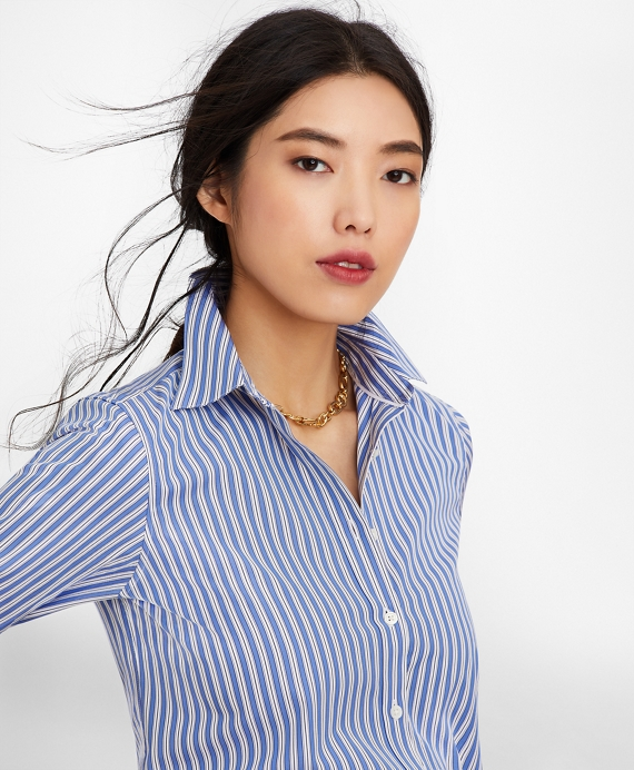 Classic-Fit Striped Cotton Poplin Luxury Shirt Dark Blue