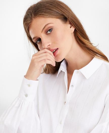 Non-Iron Tailored-Fit Supima® Cotton Floral Jacquard Blouse