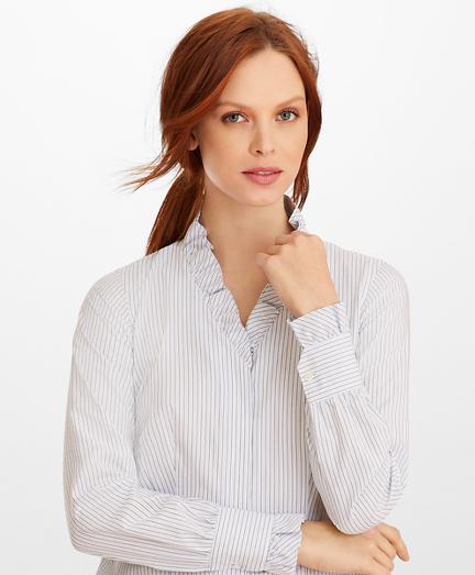 Non-Iron Striped Supima® Cotton Ruffle-Collar Blouse