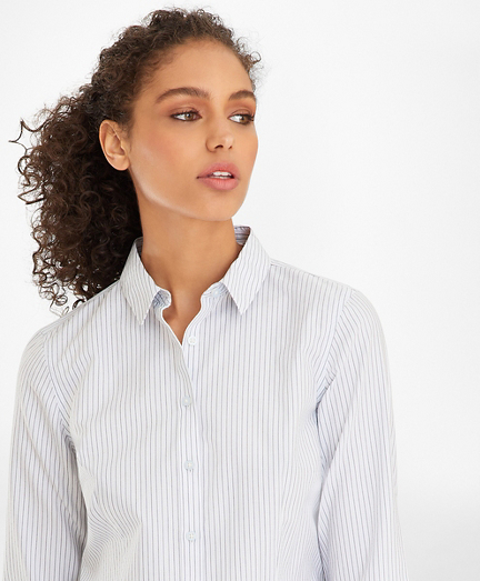 Non-Iron Tailored-Fit Striped Supima® Cotton Dobby Shirt
