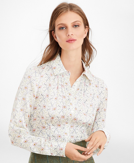 Floral-Print Silk Satin Blouse