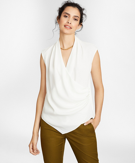 Draped Crepe Faux-Wrap Blouse