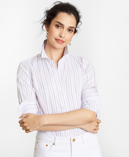 Non-Iron Tailored-Fit Striped Supima® Cotton Dobby Shirt