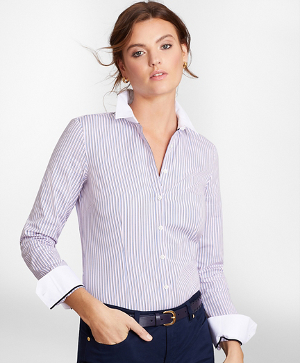 Non-Iron Tailored-Fit Striped Cotton Dobby Shirt