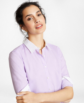 Non-Iron Supima® Cotton Twill Contrast-Collar Fitted Shirt