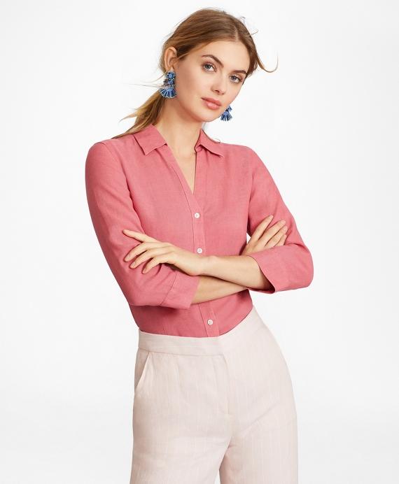 Linen Three-Quarter Sleeve Shirt Rose