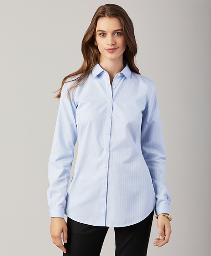 Non-Iron Striped Cotton Long-Sleeve Fitted Shirt