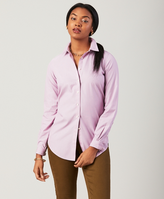 Non-Iron Classic-Fit Striped Stretch Cotton Poplin Shirt Pink