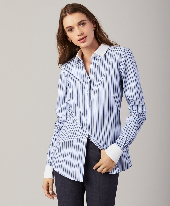 Non-Iron Striped Stretch Cotton Fitted Shirt Blue