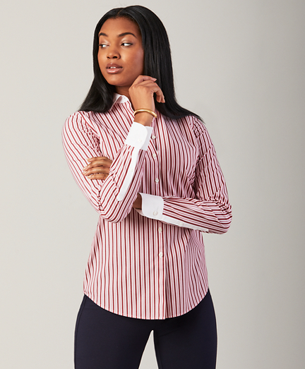 Non-Iron Striped Stretch Cotton Fitted Shirt
