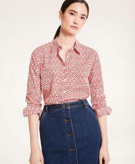 Classic Fit Strawberry Print Cotton Shirt