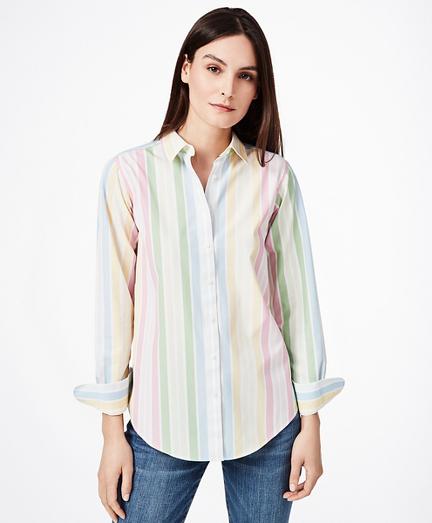 Non-Iron Classic-Fit Striped Stretch Supima® Cotton Dress Shirt
