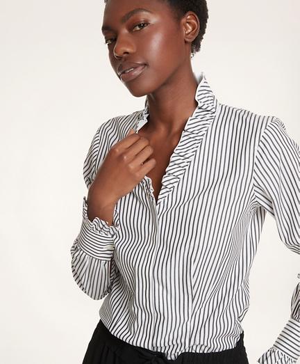 Ruffle-Collar Non-Iron Stretch Supima® Cotton Shirt