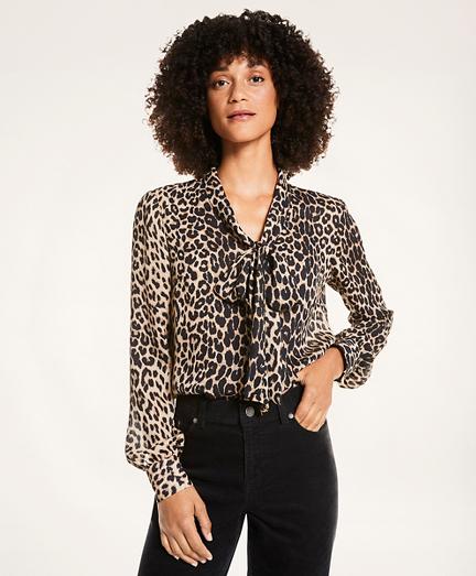 Leopard Print Crepe Blouse