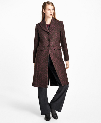 Wool-Blend Muted Leopard-Print Coat