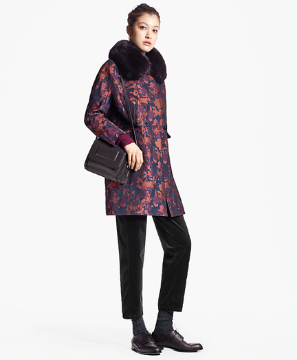 Floral Jacquard Coat with Removable Fox Fur Collar