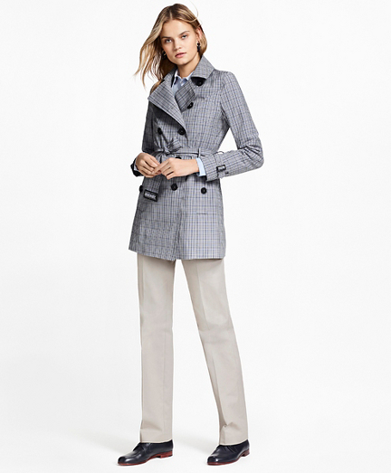 Plaid Stretch Cotton Trench Jacket