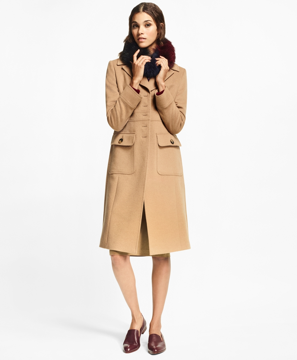 1930s Style Clothing and Fashion Brooks Brothers Womens Camel Hair Polo Coat $698.60 AT vintagedancer.com