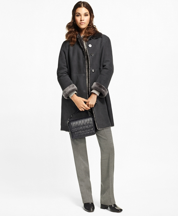 Shearling Cocoon Coat Dark Grey