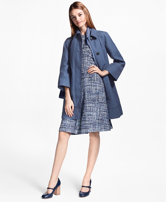 Water-Repellent Stretch-Cotton Swing Coat Blue