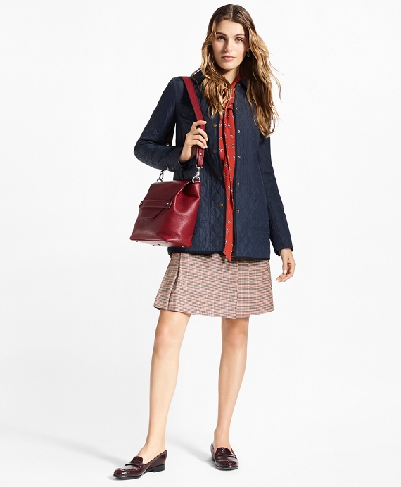 Water-Repellent Diamond-Quilted Car Coat Navy