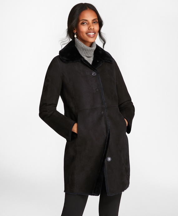 Shearling Cocoon Coat Black