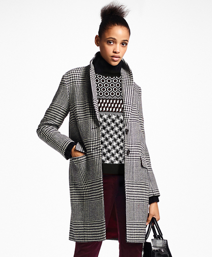 Glen Plaid Wool Cocoon Coat