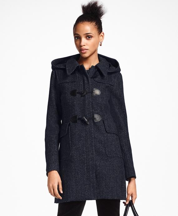 Herringbone Wool Cashmere Duffle Coat by Brooks Brothers