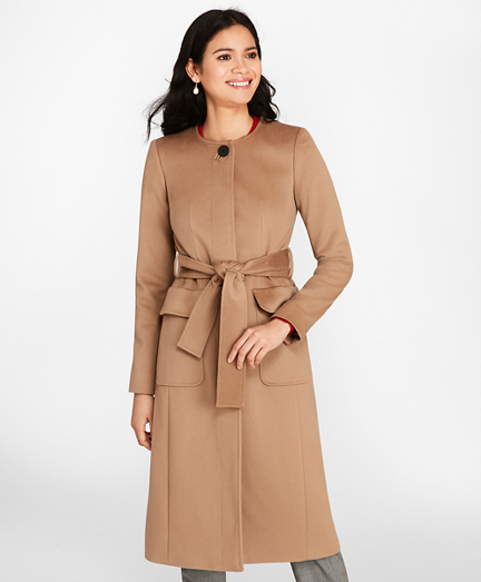 Brushed Wool Twill Wrap Coat