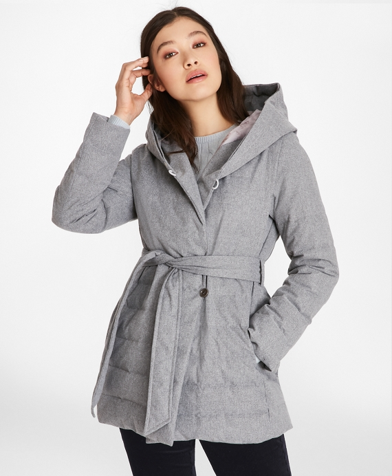 Flannel Down-Filled Wrap Coat Heather-Grey