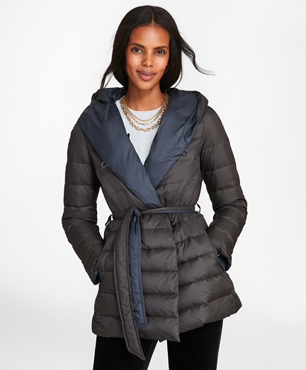 Reversible Water-Repellent Down-Filled Wrap Coat