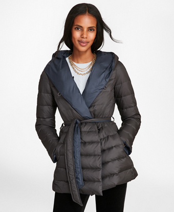 Reversible Water-Repellent Down-Filled Wrap Coat
