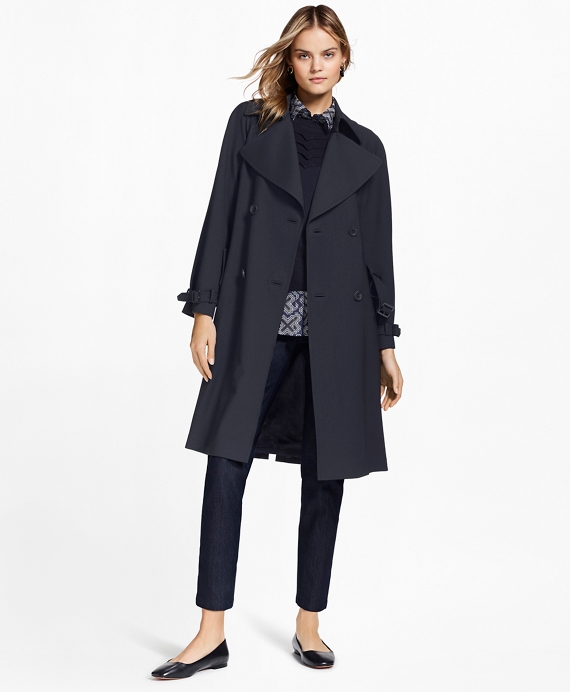 Stretch Wool Trench Coat Navy